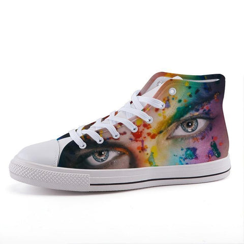 Printy6 Shoes 35 Maletropolis Custom High-Top Pride Sneakers - Rainbow Eyes