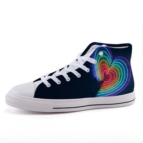 Printy6 Shoes 35 Maletropolis Custom High-Top Pride Sneakers - Rainbow Hearts