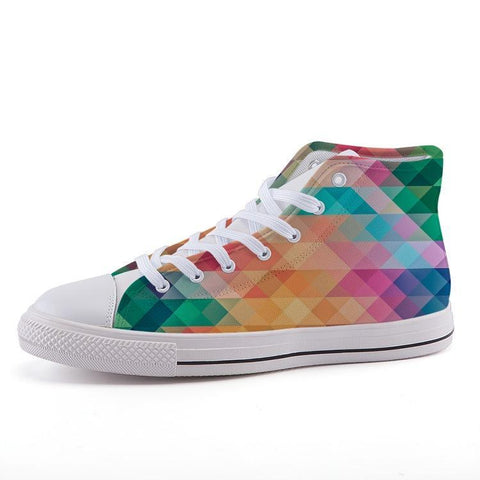 Printy6 Shoes 35 Maletropolis Custom High-Top Pride Sneakers - Rainbow Herringbone