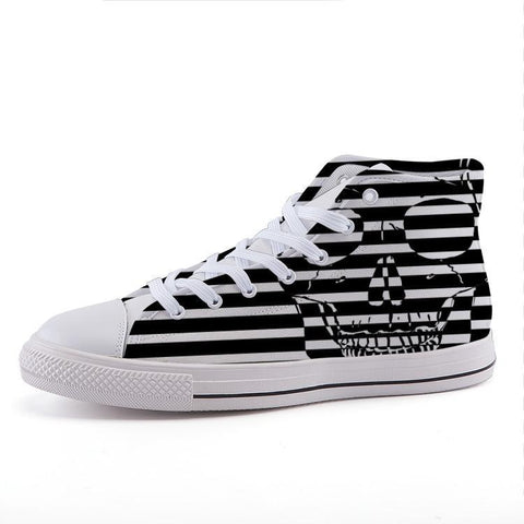 Printy6 Shoes 35 Maletropolis Custom High-Top Sneakers - Striped Skull
