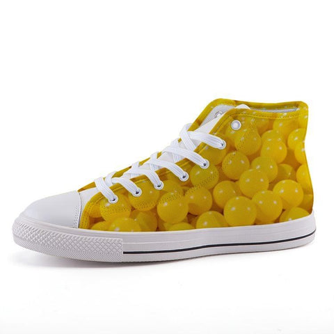 Printy6 Shoes 35 Maletropolis Custom High-Top Sneakers - Yellow Balls