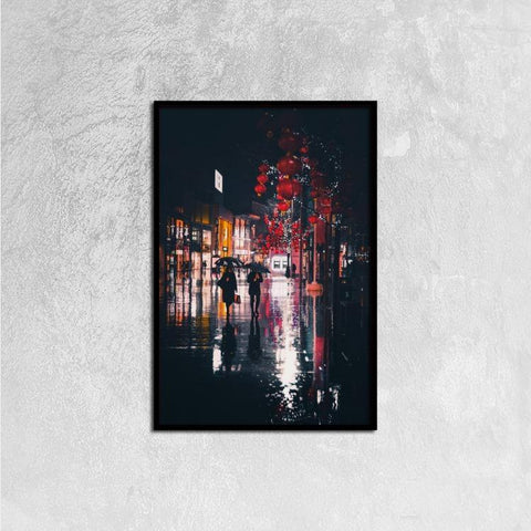 Printy6 Wall art 40cm×60cm Single Panel Canvas Print Wall Art - Wet Night
