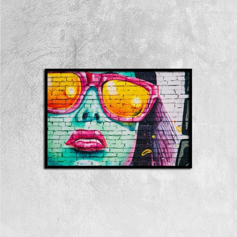 Printy6 Wall art 60cm×40cm Single Panel Canvas Print Wall Art - Neon Face