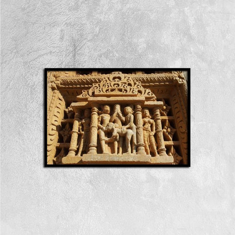 Printy6 Wall art 60cm×40cm Single Panel Canvas Print Wall Art - Temple Carving