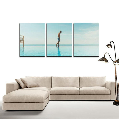 Printy6 Wall art Framed(ready to hang) / Medium 3 Panel Canvas Print Wall Art - Beach Walk