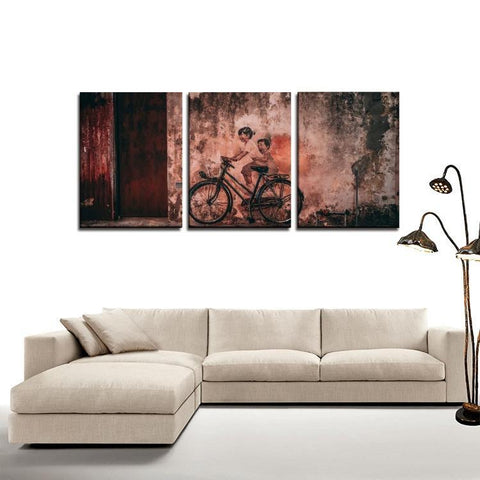Printy6 Wall art Framed(ready to hang) / Medium 3 Panel Canvas Print Wall Art - Bicycle Mural