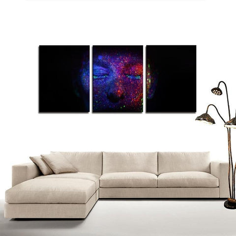 Printy6 Wall art Framed(ready to hang) / Medium 3 Panel Canvas Print Wall Art - Blacklight Face