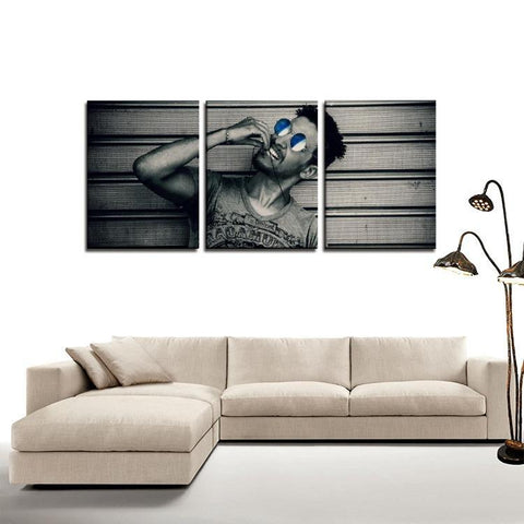 Printy6 Wall art Framed(ready to hang) / Medium 3 Panel Canvas Print Wall Art - Blue Sunglasses