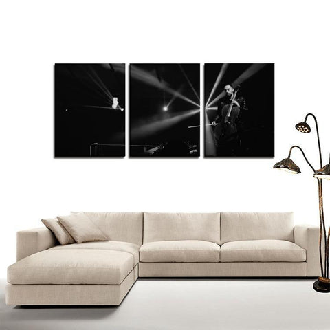 Printy6 Wall art Framed(ready to hang) / Medium 3 Panel Canvas Print Wall Art - Cello