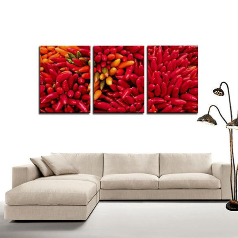 Printy6 Wall art Framed(ready to hang) / Medium 3 Panel Canvas Print Wall Art - Chile Peppers