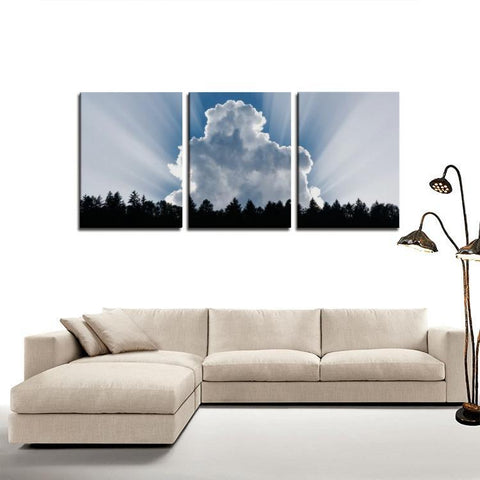 Printy6 Wall art Framed(ready to hang) / Medium 3 Panel Canvas Print Wall Art - Cloud