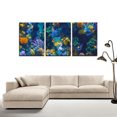 Printy6 Wall art Framed(ready to hang) / Medium 3 Panel Canvas Print Wall Art - Coral Reef