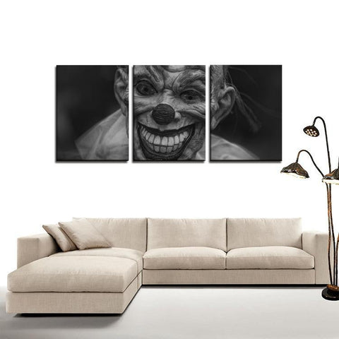Printy6 Wall art Framed(ready to hang) / Medium 3 Panel Canvas Print Wall Art - Creepy Clown