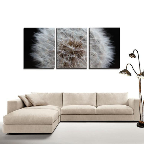 Printy6 Wall art Framed(ready to hang) / Medium 3 Panel Canvas Print Wall Art - Dandelion