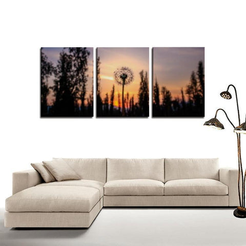 Printy6 Wall art Framed(ready to hang) / Medium 3 Panel Canvas Print Wall Art - Dandelion Sunset