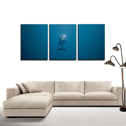 Printy6 Wall art Framed(ready to hang) / Medium 3 Panel Canvas Print Wall Art - Dolphin