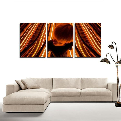 Printy6 Wall art Framed(ready to hang) / Medium 3 Panel Canvas Print Wall Art - Escalator