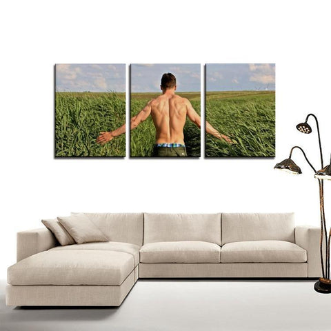 Printy6 Wall art Framed(ready to hang) / Medium 3 Panel Canvas Print Wall Art - Farmer