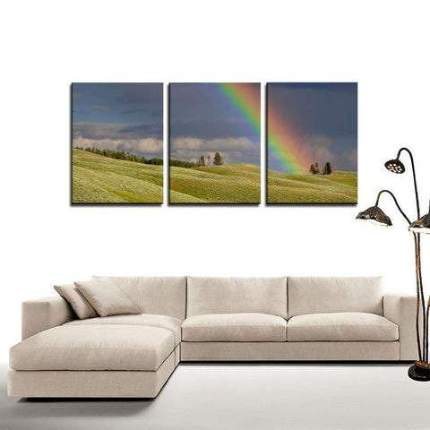 Printy6 Wall art Framed(ready to hang) / Medium 3 Panel Canvas Print Wall Art - Field Rainbow
