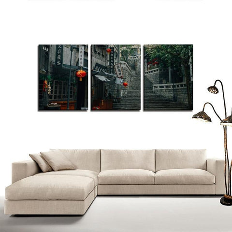 Printy6 Wall art Framed(ready to hang) / Medium 3 Panel Canvas Print Wall Art - Hong Kong