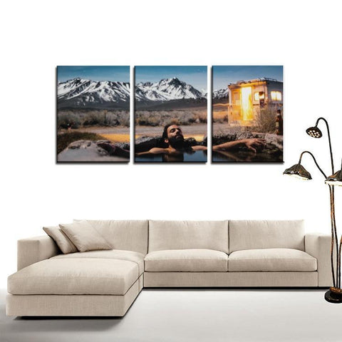 Printy6 Wall art Framed(ready to hang) / Medium 3 Panel Canvas Print Wall Art  - Hot Springs
