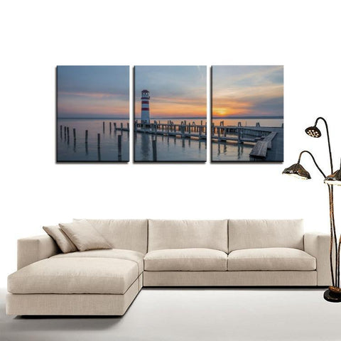 Printy6 Wall art Framed(ready to hang) / Medium 3 Panel Canvas Print Wall Art - Lighthouse