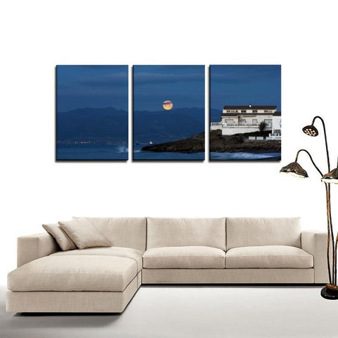 Printy6 Wall art Framed(ready to hang) / Medium 3 Panel Canvas Print Wall Art - Mexico Moon