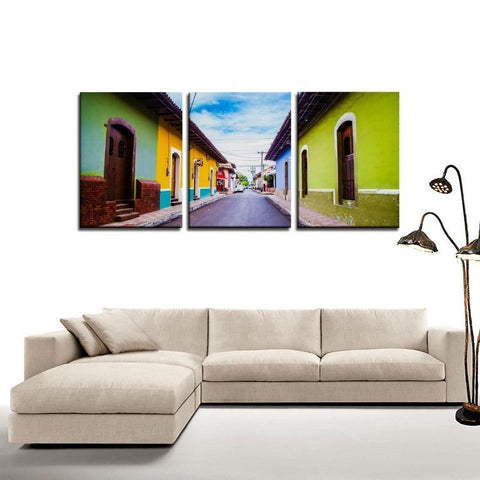 Printy6 Wall art Framed(ready to hang) / Medium 3 Panel Canvas Print Wall Art - Mexico Street