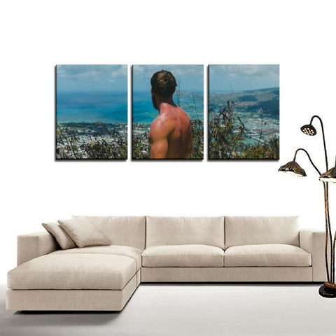 Printy6 Wall art Framed(ready to hang) / Medium 3 Panel Canvas Print Wall Art - Mountain View