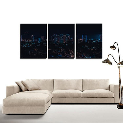 Printy6 Wall art Framed(ready to hang) / Medium 3 Panel Canvas Print Wall Art - Night Skyline