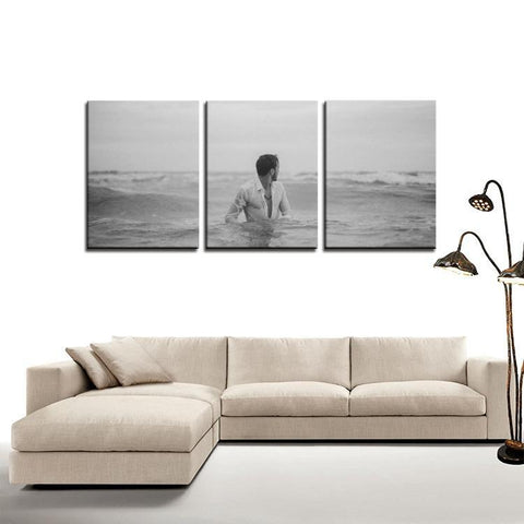Printy6 Wall art Framed(ready to hang) / Medium 3 Panel Canvas Print Wall Art - Ocean Man