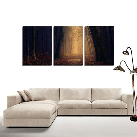 Printy6 Wall art Framed(ready to hang) / Medium 3 Panel Canvas Print Wall Art - Pathway