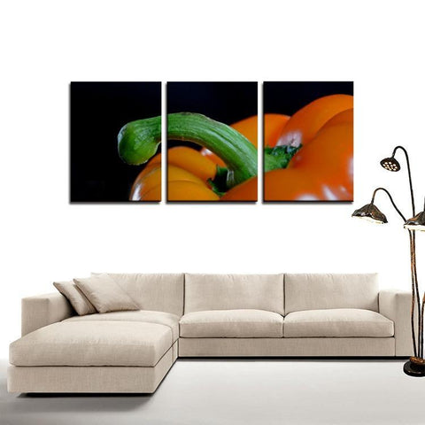 Printy6 Wall art Framed(ready to hang) / Medium 3 Panel Canvas Print Wall Art - Pepper