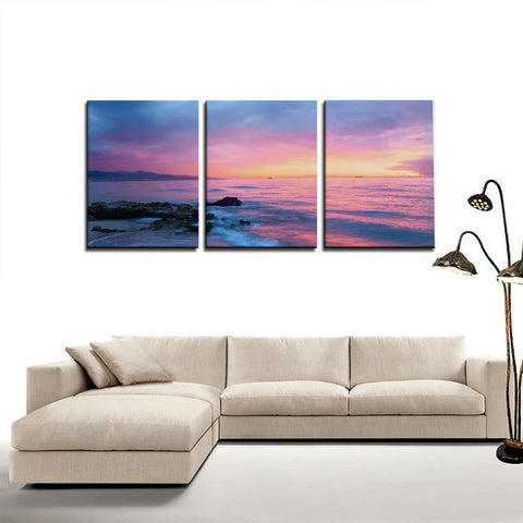 Printy6 Wall art Framed(ready to hang) / Medium 3 Panel Canvas Print Wall Art - Purple Sunset