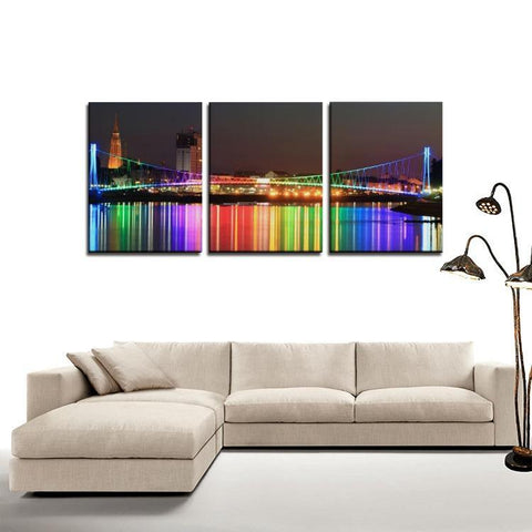 Printy6 Wall art Framed(ready to hang) / Medium 3 Panel Canvas Print Wall Art - Rainbow Bridge