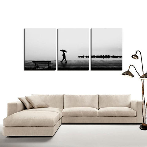 Printy6 Wall art Framed(ready to hang) / Medium 3 Panel Canvas Print Wall Art - Rainy Walk