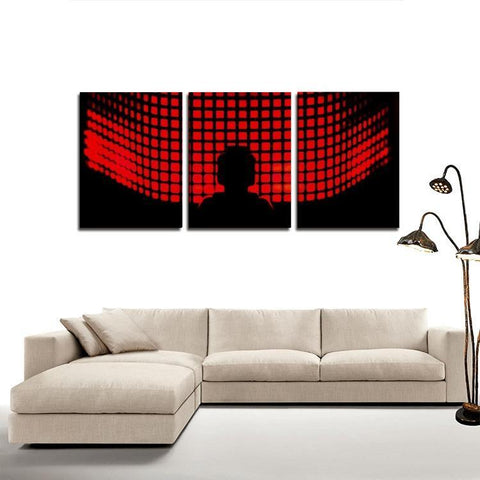Printy6 Wall art Framed(ready to hang) / Medium 3 Panel Canvas Print Wall Art - Red Grid