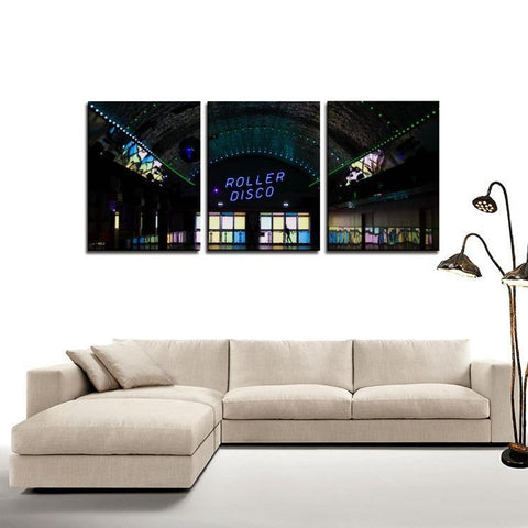 Printy6 Wall art Framed(ready to hang) / Medium 3 Panel Canvas Print Wall Art - Roller Disco