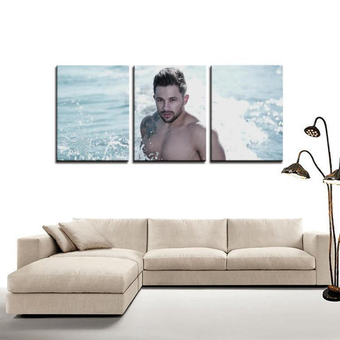 Printy6 Wall art Framed(ready to hang) / Medium 3 Panel Canvas Print Wall Art - Splash