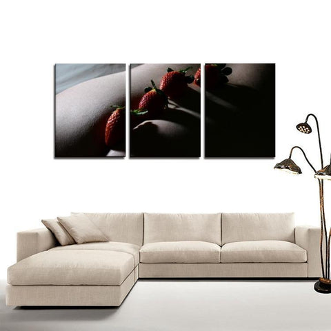 Printy6 Wall art Framed(ready to hang) / Medium 3 Panel Canvas Print Wall Art - Strawberries