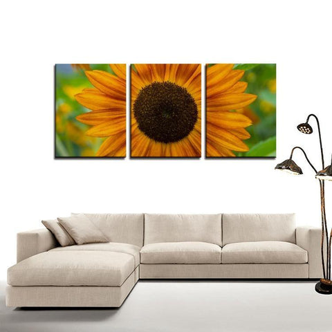 Printy6 Wall art Framed(ready to hang) / Medium 3 Panel Canvas Print Wall Art - Sunflower
