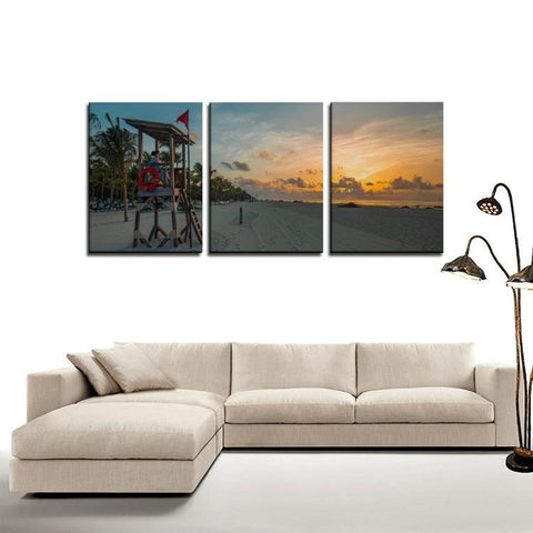 Printy6 Wall art Framed(ready to hang) / Medium 3 Panel Canvas Print Wall Art - Sunrise Beach