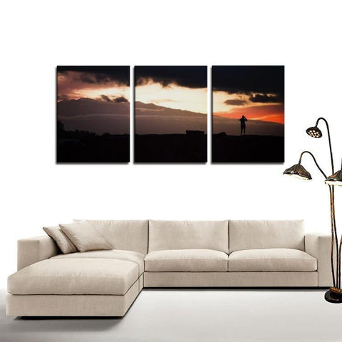Printy6 Wall art Framed(ready to hang) / Medium 3 Panel Canvas Print Wall Art  - Sunset