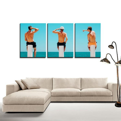 Printy6 Wall art Framed(ready to hang) / Medium 3 Panel Canvas Print Wall Art - Three Piers
