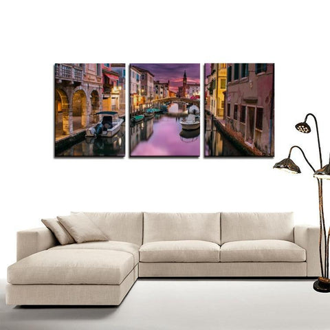 Printy6 Wall art Framed(ready to hang) / Medium 3 Panel Canvas Print Wall Art - Venice