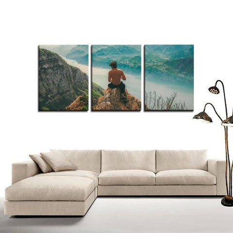 Printy6 Wall art Framed(ready to hang) / Medium 3 Panel Canvas Print Wall Art - Vista