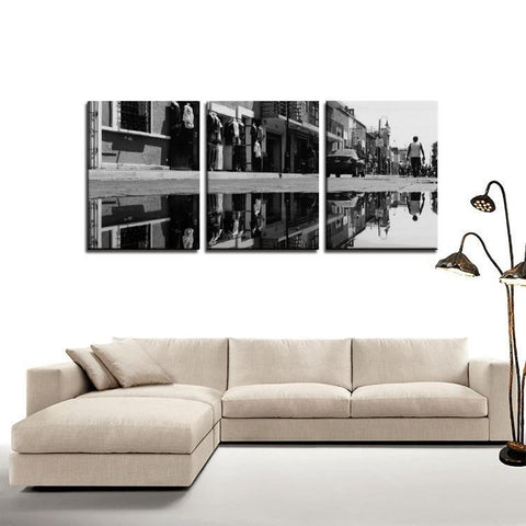 Printy6 Wall art Framed(ready to hang) / Medium 3 Panel Canvas Print Wall Art - Wet Street