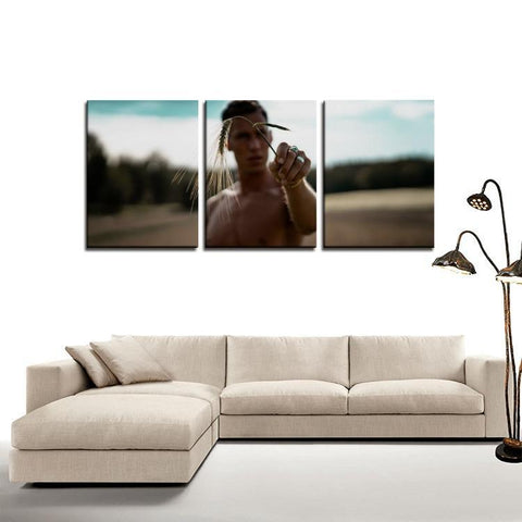 Printy6 Wall art Framed(ready to hang) / Medium 3 Panel Canvas Print Wall Art - Wheat