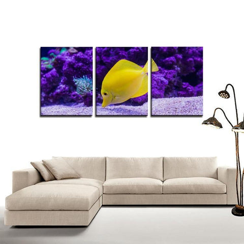 Printy6 Wall art Framed(ready to hang) / Medium 3 Panel Canvas Print Wall Art - Yellow Fish
