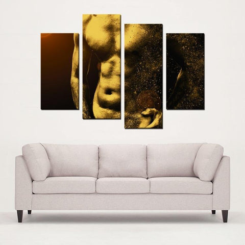 Printy6 Wall art Framed(ready to hang) / Medium 4 Panel Canvas Print Wall Art - Abs